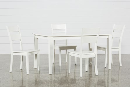 Lindy 5 Piece Paper White Rectangle Dining Set