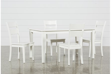 Lindy 5 Piece Paper White Rectangle Dining Set - Main