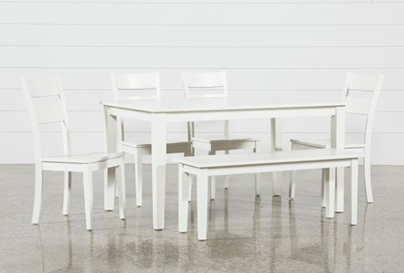 Lindy 6 Piece Paper White Rectangle Dining Set