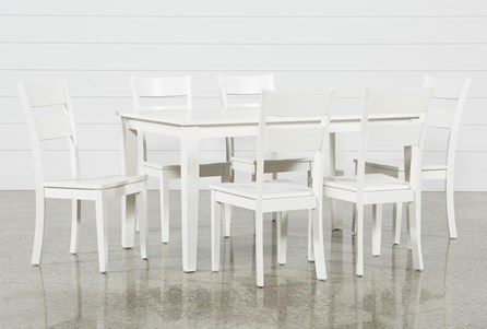 Lindy 7 Piece Paper White Rectangle Dining Set