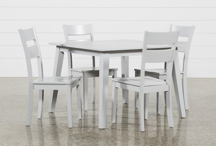Mandy 5 Piece Dove Grey Square Dining Set