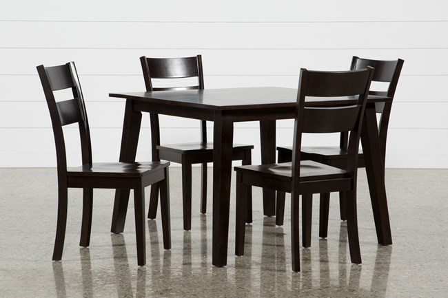 Mandy 5 Piece Espresso Square Dining Set - 360