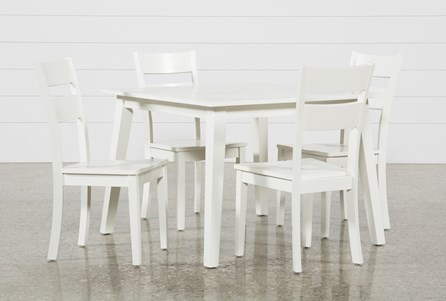 Mandy 5 Piece Paper White Square Dining Set
