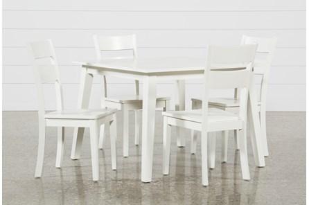 Mandy 5 Piece Paper White Square Dining Set - Main