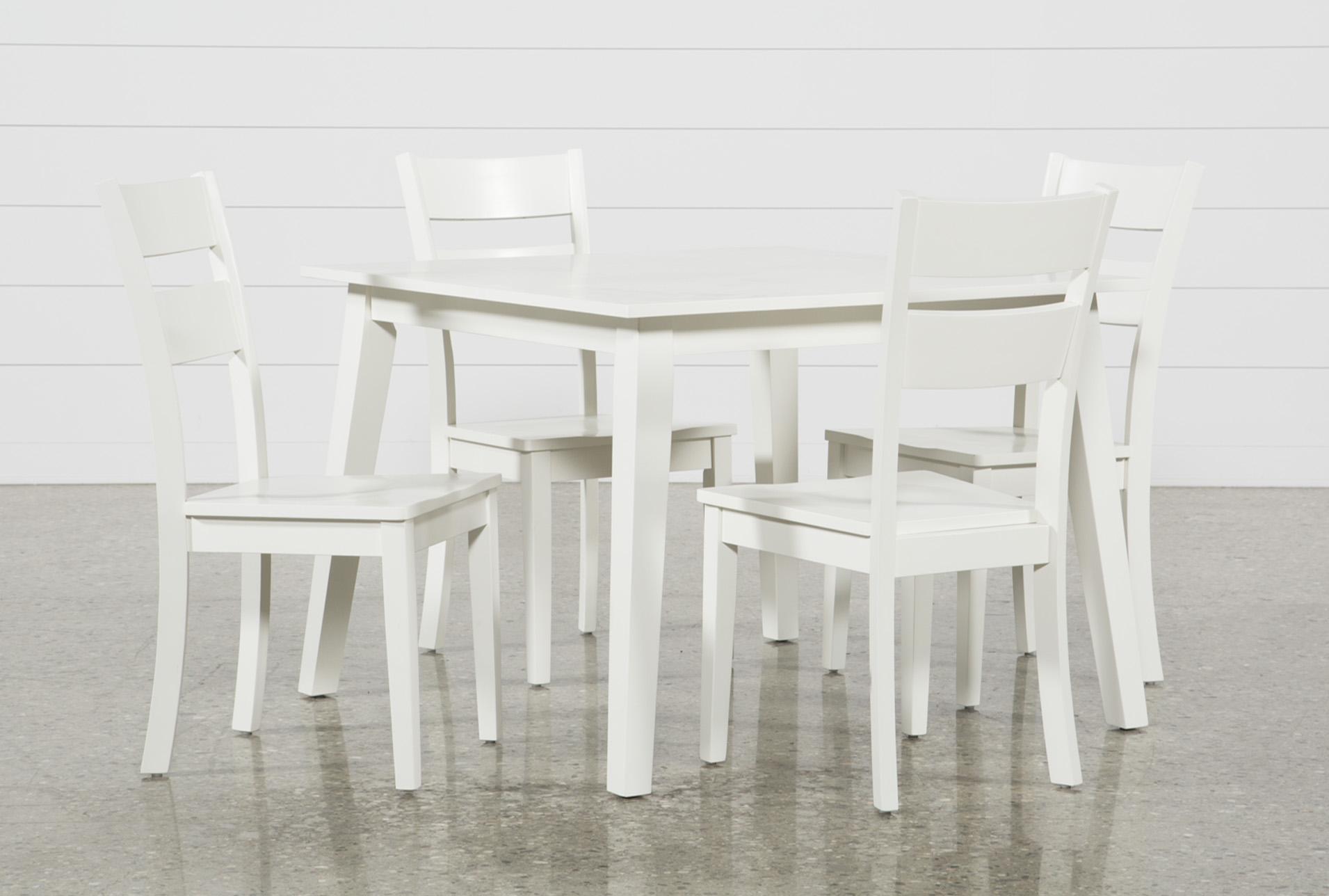 3c1023d366fc Mandy 5 Piece Paper White Square Dining Set 360