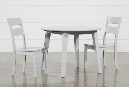 Moxy 3 Piece Dove Grey Round Dining Set