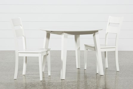 Moxy 3 Piece Paper White Round Dining Set