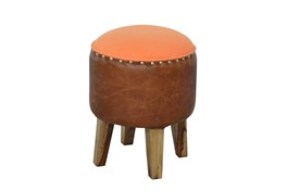 Round Brown Leather Stool