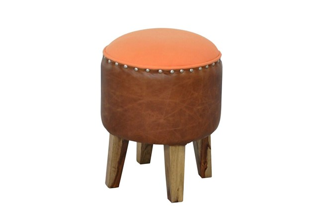 Round Brown Leather Stool - 360