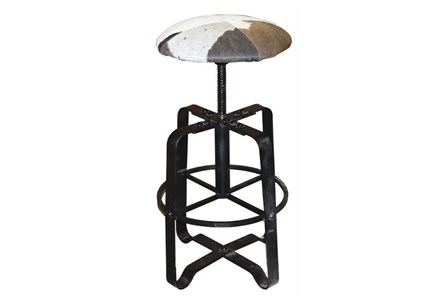 Cowhide Adjustable Leather Barstool