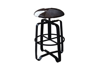 Cowhide Adjustable Dark Leather Bar Stool