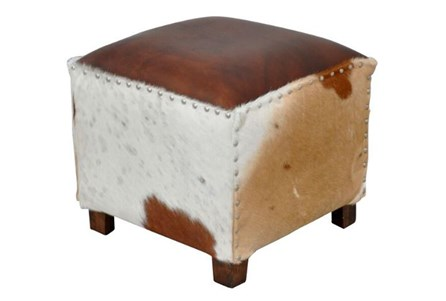Square Cowhide Leather Stool