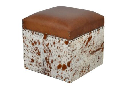 Manas Square Leather Stool
