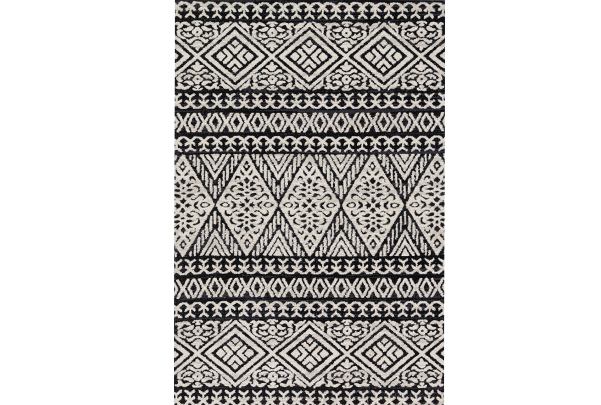 60x90 Rug Magnolia Home Lotus Diamond Black Silver By Joanna Gaines