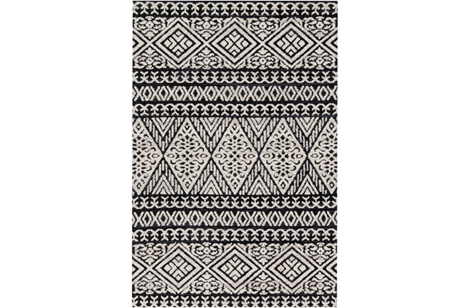 60X90 Rug-Magnolia Home Lotus Diamond Black/Silver By Joanna Gaines - 360