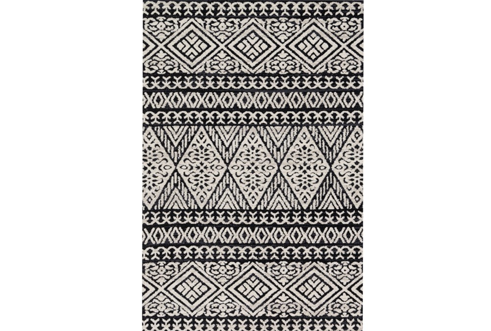 93X117 Rug-Magnolia Home Lotus Diamond Black/Silver By Joanna Gaines