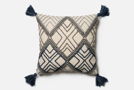 Accent Pillow-Magnolia Home Blue/Ivory Argyle Tassels 22X22 By Joanna Gaines