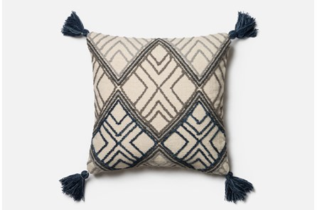 Accent Pillow-Magnolia Home Blue/Ivory Argyle Tassels 22X22 By Joanna Gaines - Main