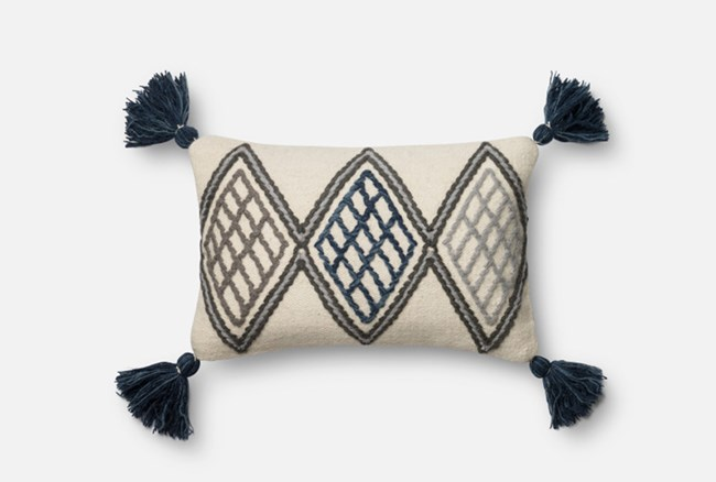 Accent Pillow-Magnolia Home Blue/Ivory Diamond Tassels 13X21 By Joanna Gaines - 360