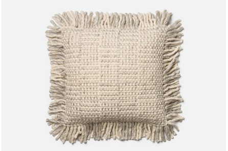 Accent Pillow-Magnolia Home Grey/Ivory Basketweave Fringe 22X22 By Joanna Gaines