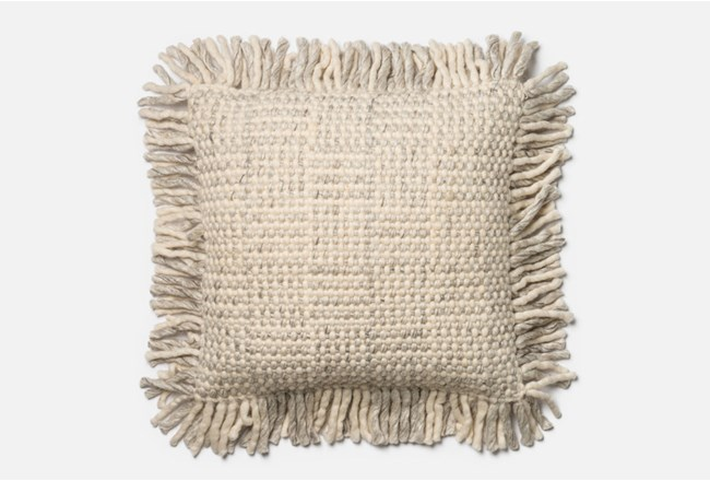 Accent Pillow-Magnolia Home Grey/Ivory Basketweave Fringe 22X22 By Joanna Gaines - 360