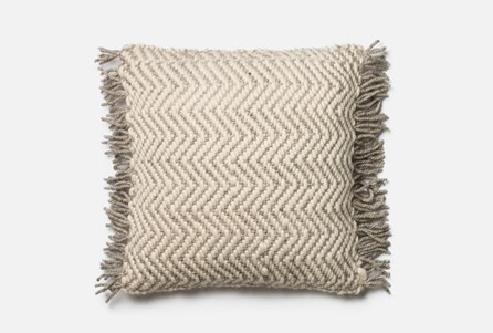 Accent Pillow-Magnolia Home Grey/Ivory Chevron Fringe 22X22 By Joanna Gaines
