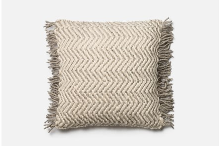 Accent Pillow-Magnolia Home Grey/Ivory Chevron Fringe 22X22 By Joanna Gaines - Main