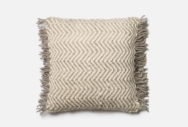 Accent Pillow-Magnolia Home Grey/Ivory Chevron Fringe 22X22 By Joanna Gaines - 360