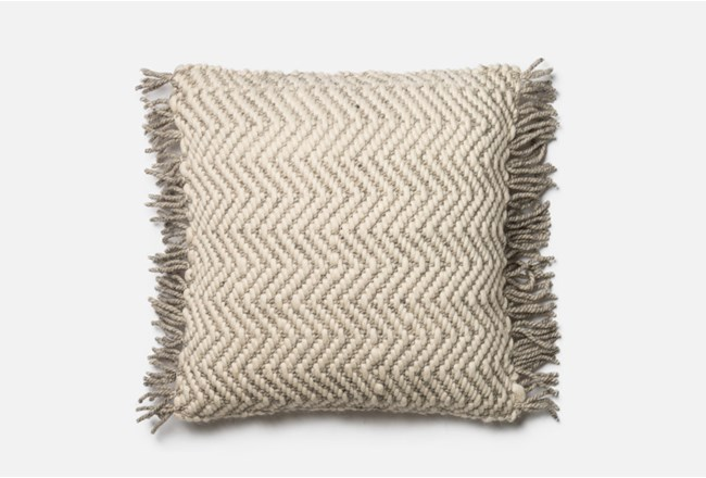 Accent PillowMagnolia Home GreyIvory Chevron Fringe 40X40 By Stunning Newport Decorative Pillows Feather Filled