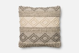 Accent Pillow-Magnolia Home Grey/Ivory Diamond Stripes 22X22 By Joanna Gaines