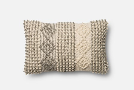 Accent Pillow-Magnolia Home Grey/Ivory Diamond Stripes 13X21 By Joanna Gaines