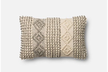 Accent Pillow-Magnolia Home Grey/Ivory Diamond Stripes 13X21 By Joanna Gaines - Main