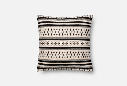 Accent Pillow-Magnolia Home Black/White Pattern Stripes 18X18 By Joanna Gaines