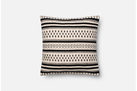 Accent Pillow-Magnolia Home Black/White Pattern Stripes 18X18 By Joanna Gaines - Main