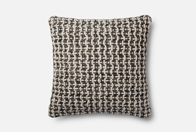 Accent Pillow-Magnolia Home Black/White Tweed 22X22 By Joanna Gaines - 360