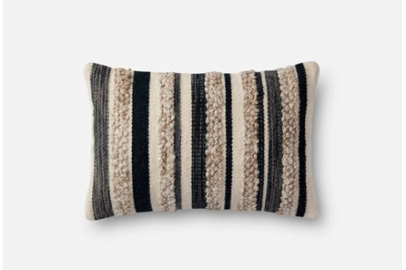 Accent Pillow-Magnolia Home Charcoal/Ivory Textured Stripes 13X21 By Joanna Gaines