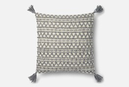 Accent Pillow-Magnolia Home Grey Chevron Stripe Tassels 22X22 By Joanna Gaines