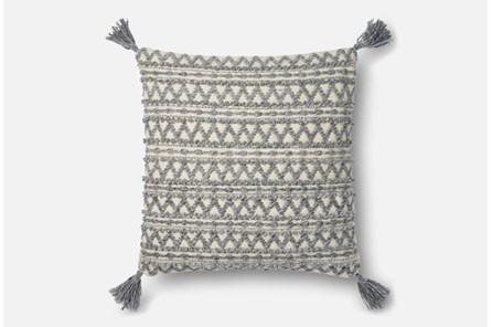 Accent Pillow-Magnolia Home Grey Chevron Stripe Tassels 22X22 By Joanna Gaines - Main