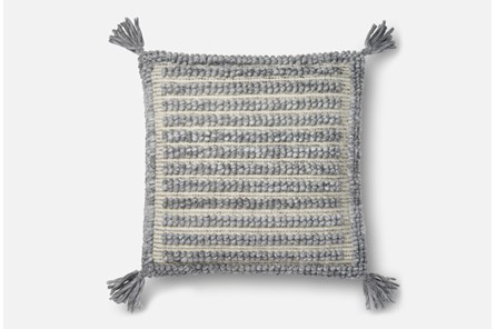 Accent Pillow-Magnolia Home Grey Square Tassels 22X22 By Joanna Gaines - Main