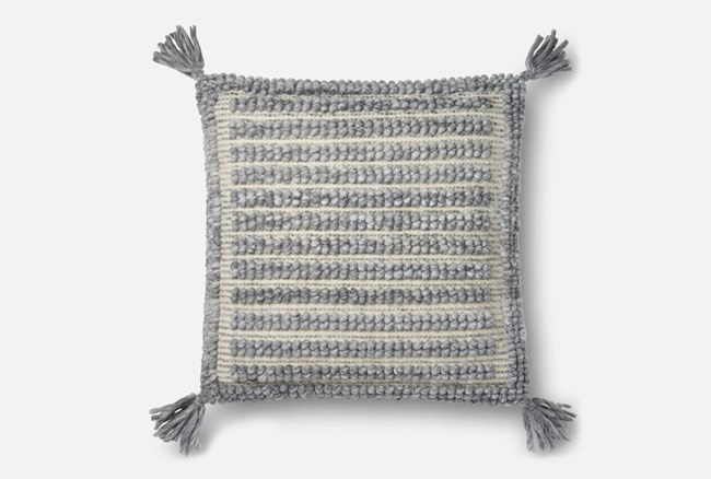 Accent Pillow-Magnolia Home Grey Square Tassels 22X22 By Joanna Gaines - 360