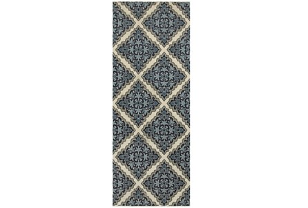 27X90 Rug-Flower Diamonds Blue