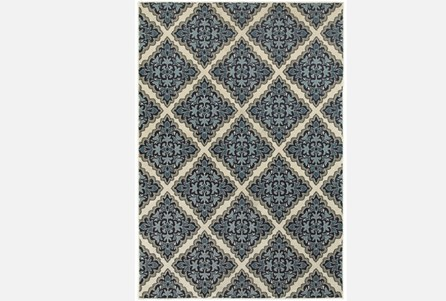 46X65 Rug-Flower Diamonds Blue