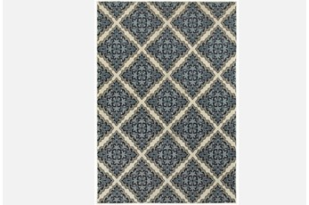 79X114 Rug-Flower Diamonds Blue