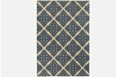 94X130 Rug-Flower Diamonds Blue