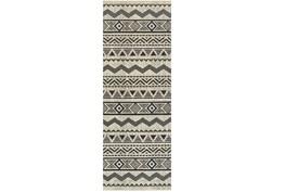 27X90 Rug-Southwest Stripes Charcoal