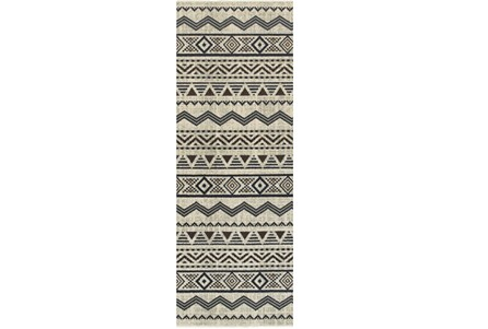 27X90 Rug-Southwest Stripes Charcoal