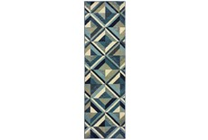 27X90 Rug-Retro Diamonds Blue