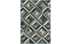63X90 Rug-Retro Diamonds Blue