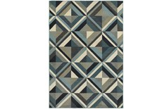 79X114 Rug-Retro Diamonds Blue