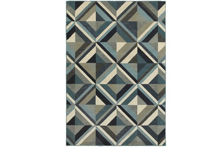 94X130 Rug-Retro Diamonds Blue